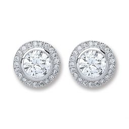 Silver Round Cz Stud Earrings
