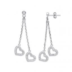 Silver 2-Strand Cz Hearts Drop Earrings