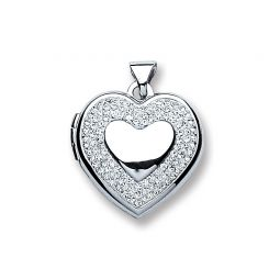 Silver Heart with Crystals Locket