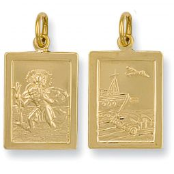 9ct Yellow Gold Rectangular Shaped St Christopher Pendant