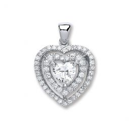 Silver Heart Cz with Two Row of Cz's Pendant