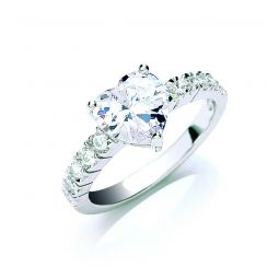 Silver Claw Set Heart Cz Solitaire Ring