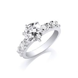 Silver Fancy Round Brilliant Centre Cz Ring