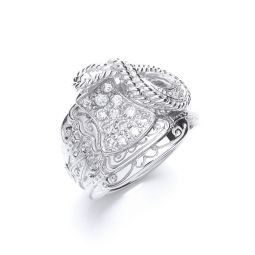 Silver Gents Cz Saddle Ring