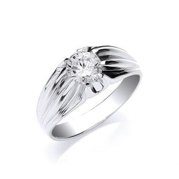 Silver Gents Single Stone Cz Ring