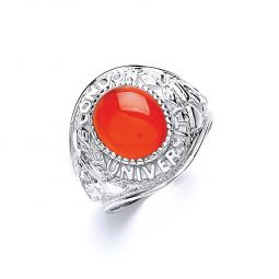 Silver Gents Red Stone College Ring
