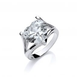 Silver Cz Heart High Setting Ring