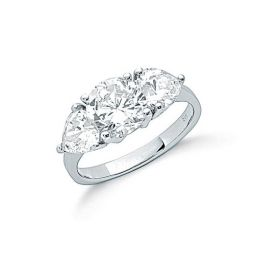 Silver Claw Set Cz Trilogy Ring