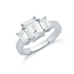 Silver Claw Set Emerald Cut Cz Trilogy Ring