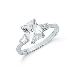 Silver Claw Set Emerald Cut Cz Solitaire Ring