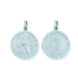 Silver Double Sided Fancy St Christopher Pendant