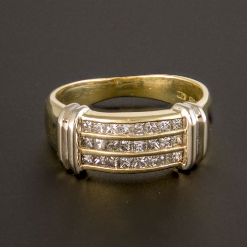 Pre-owned 18ct Gold  Half Eternity Ring - 7g - Size O Diamond Gold
