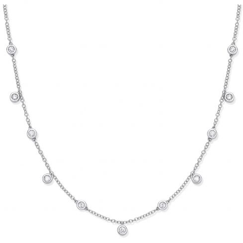 18ct White Gold and 0.35cts Diamond Chain