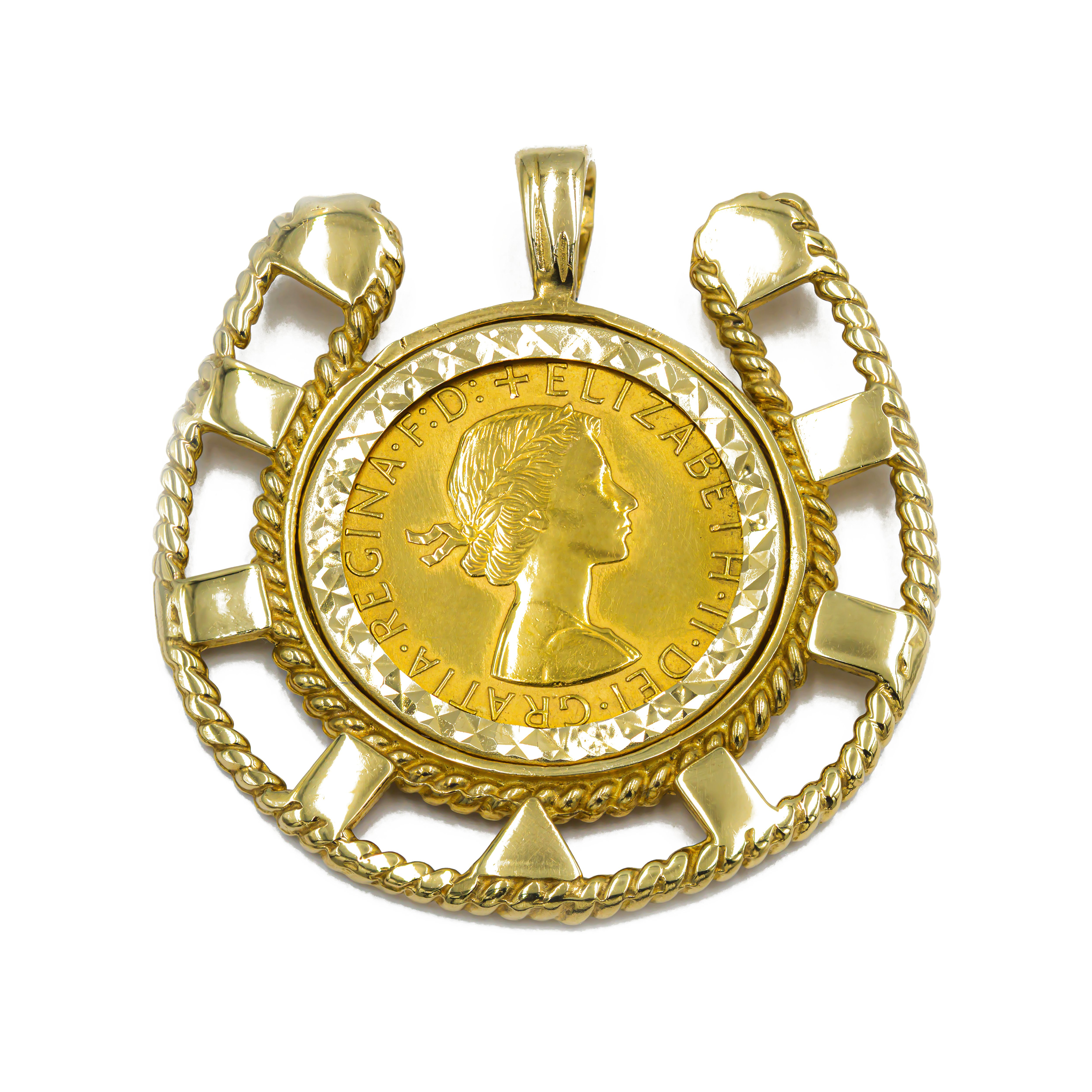Pre-owned Gold Coin Pendant In 9ct Gold Mount