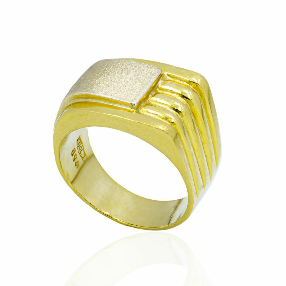 18ct Yellow And White Gold Gents Ring