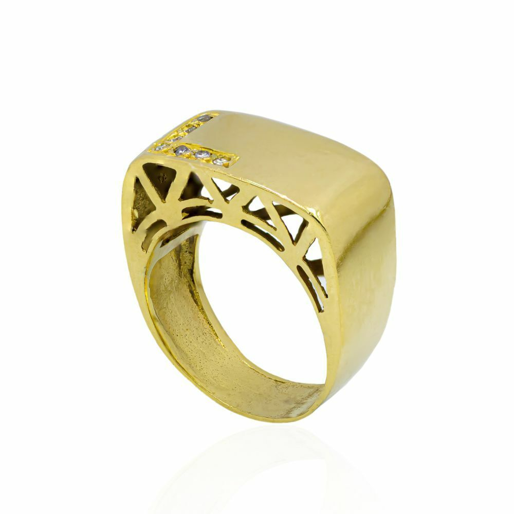 Pre-owned 18ct Gold And Diamond Gents Ring