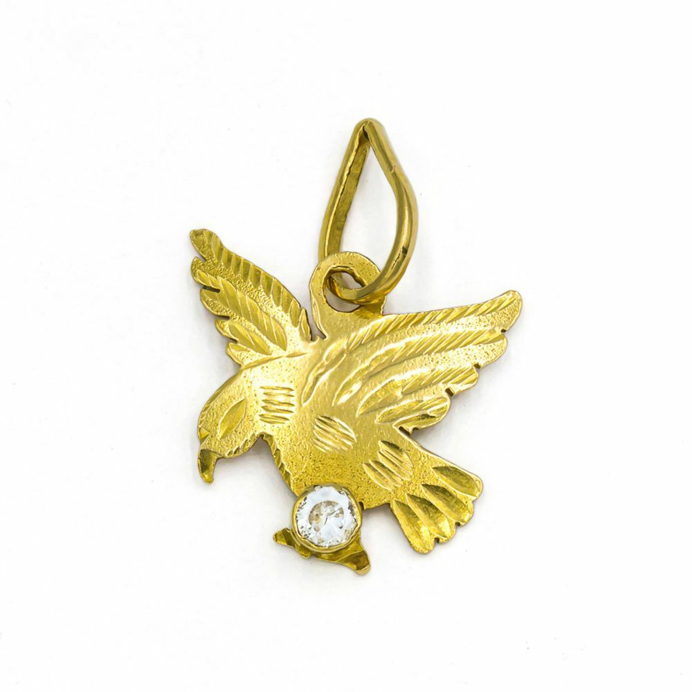 Pre-owned 18ct Gold CZ Bird Pendant