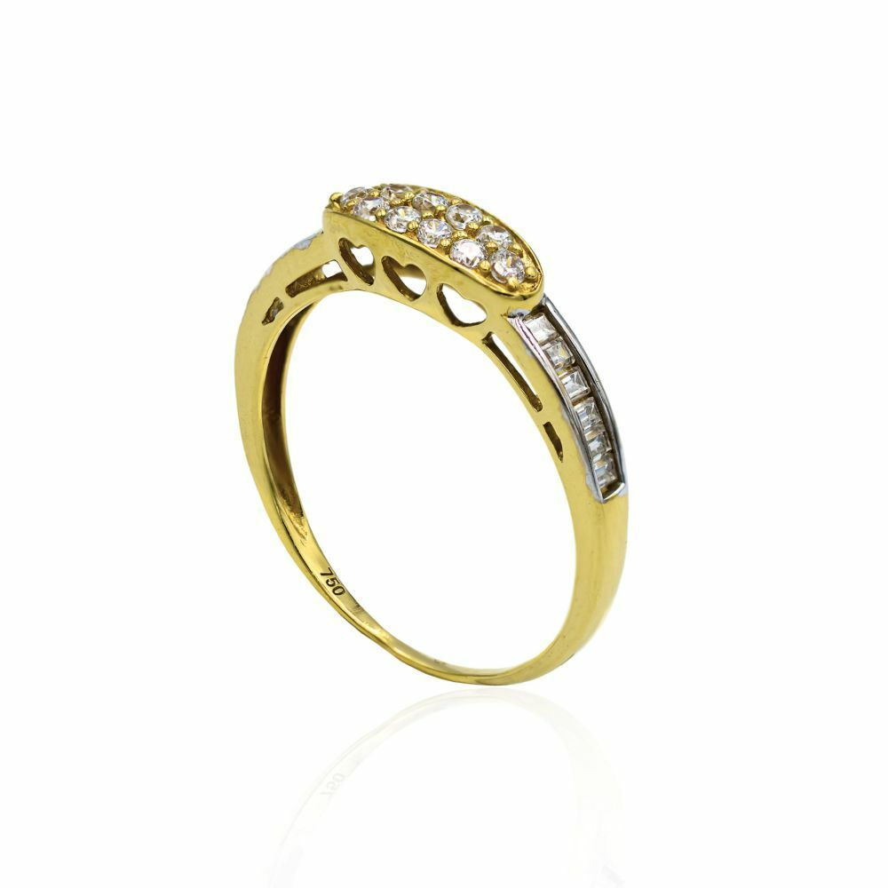 Pre-owned Cz And 18ct Yellow Gold Ring