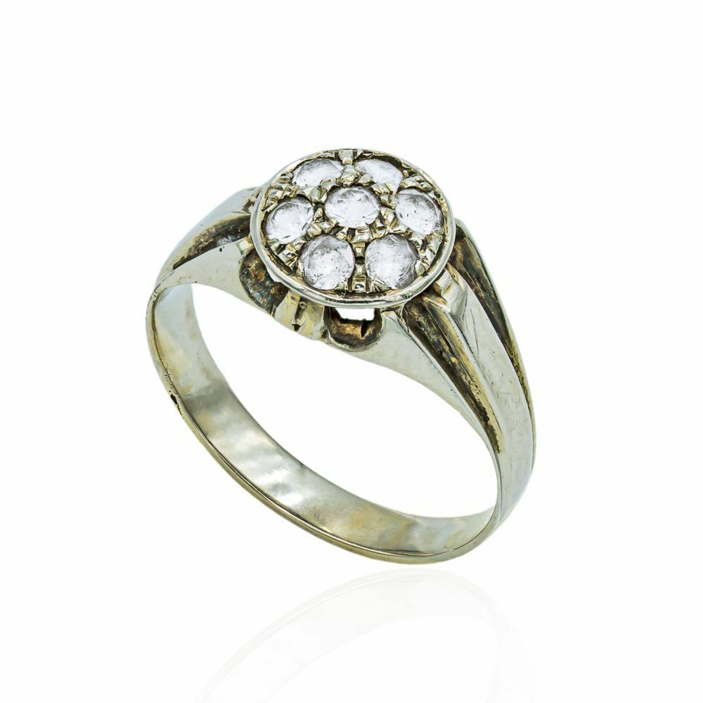 Pre-owned Cz Cluster Ring In 18ct White Gold