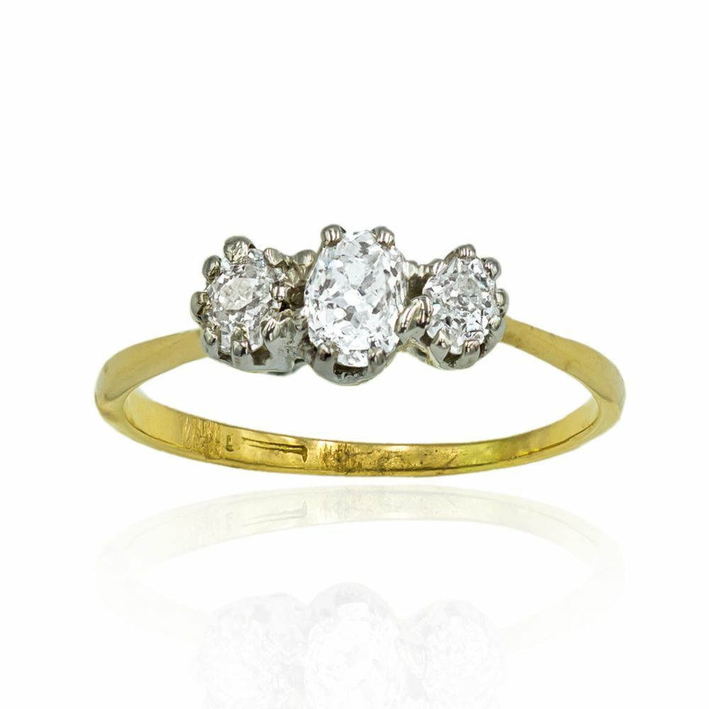 Pre-owned Old-cut Diamond 3 Stone Ring