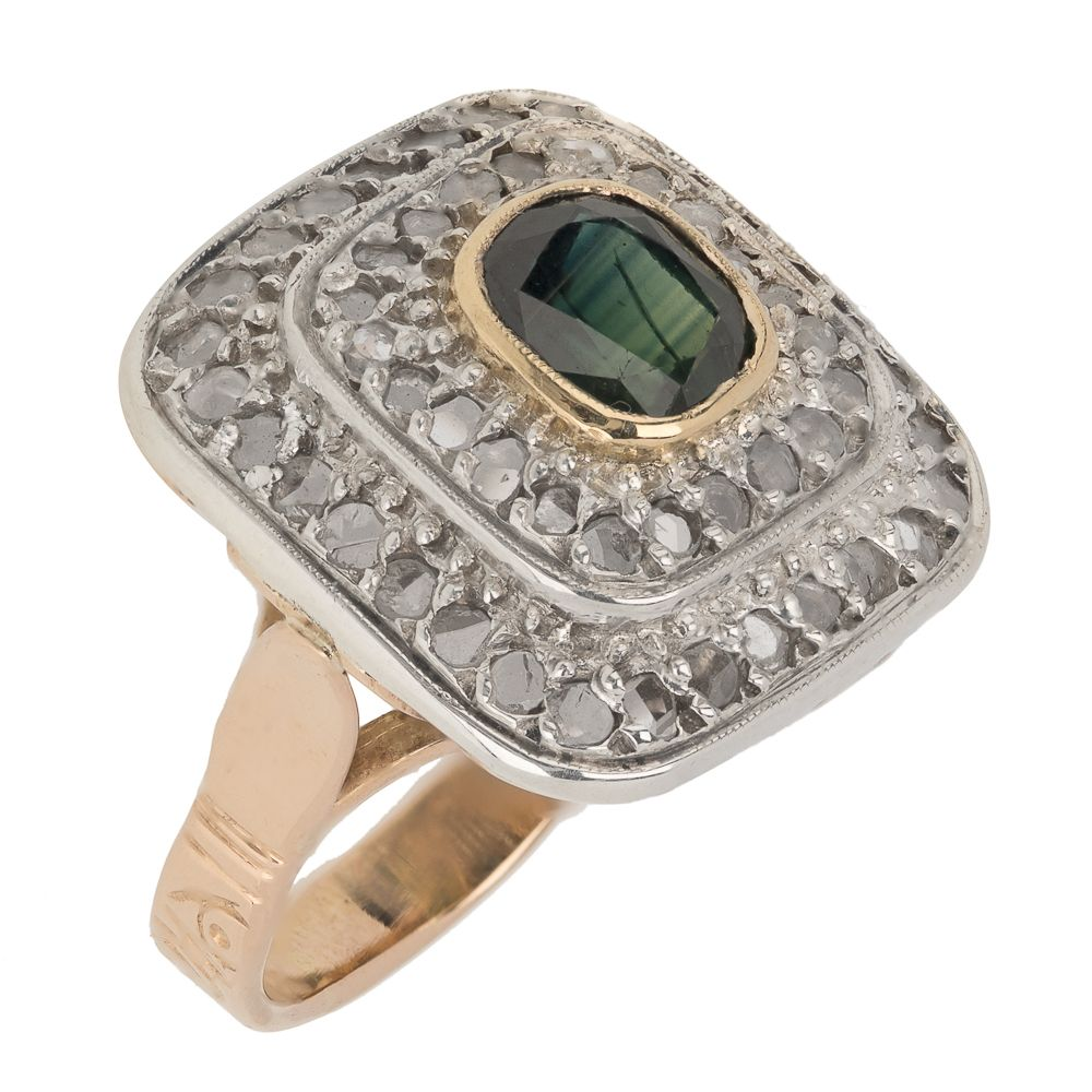 Pre-owned 18ct Gold Vintage Dress Ring - 9g - Size N Sapphire Gold