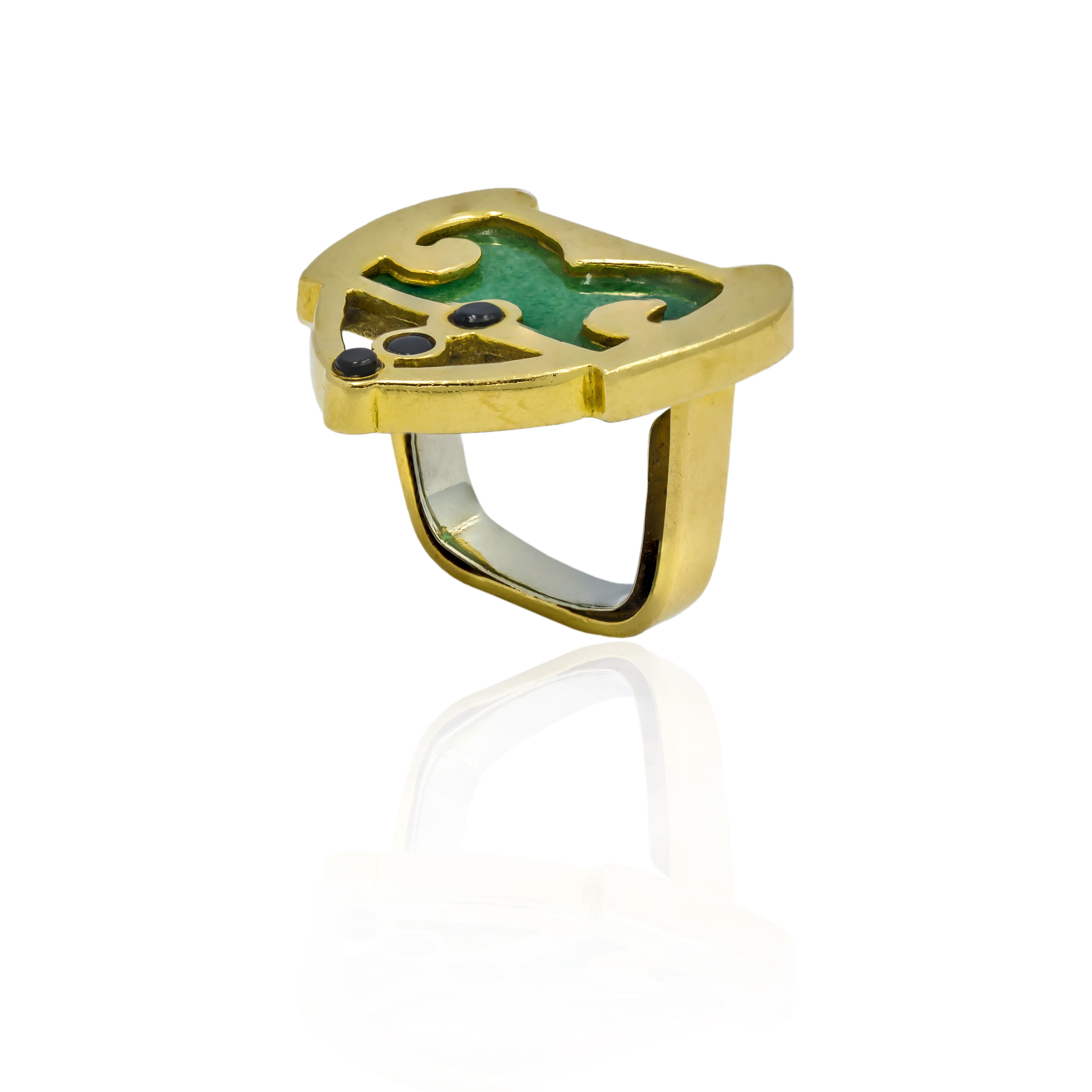 Pre-owned 18ct Yellow Gold Ring With Jadeite