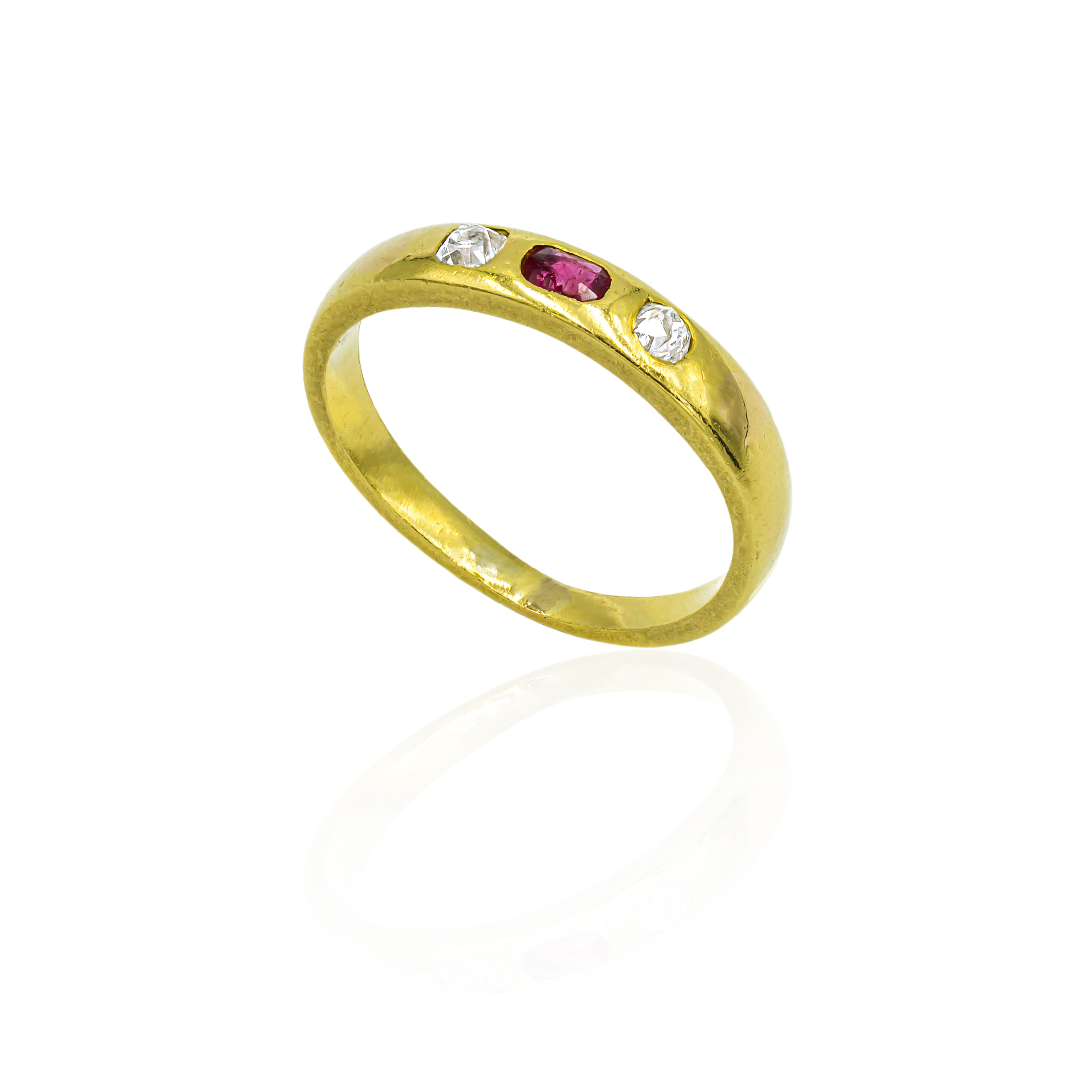 Pre-owned 18ct Yellow Gold Ring With Ruby And Diamonds