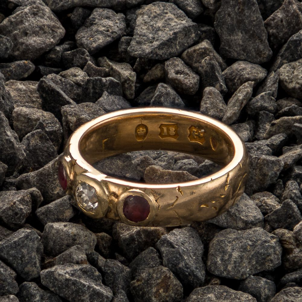Pre-owned 18ct Gold  Three stone Ring - 5g - Size H Ruby Gold