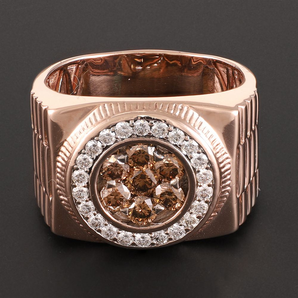 Pre-Owned 14ct Rose Gold Champagne Diamond Round Signet Ring - 18G Diamond Gold