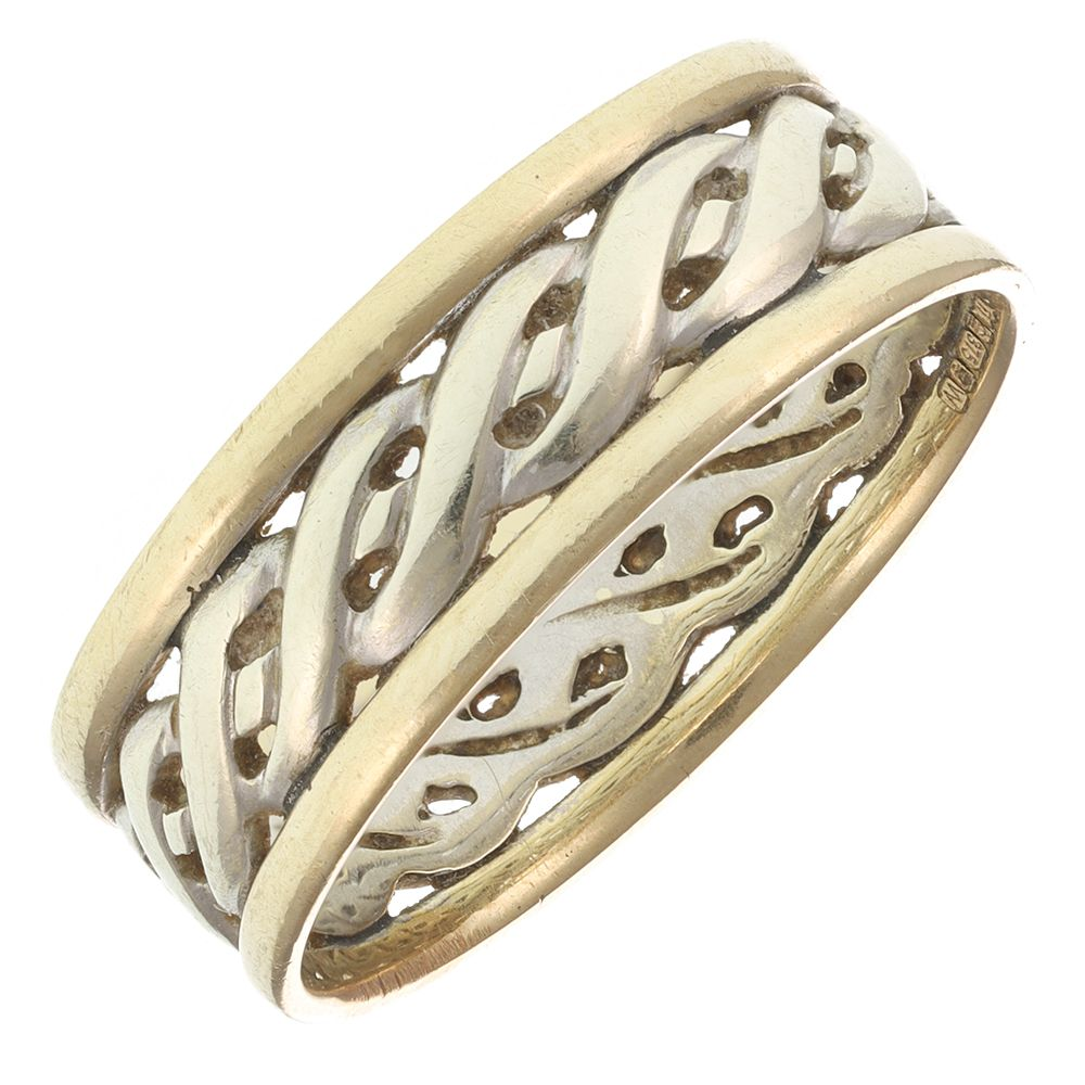Pre-Owned 9ct Multi Colour Gold Rope Ring  - 3.89g Gold