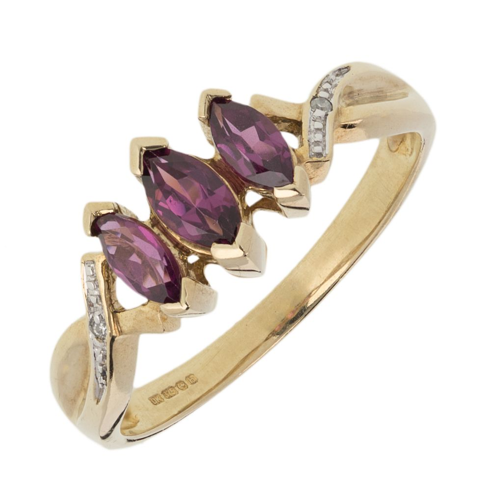 Pre-owned 9ct Gold  Three stone Ring - Size N Amethyst Gold