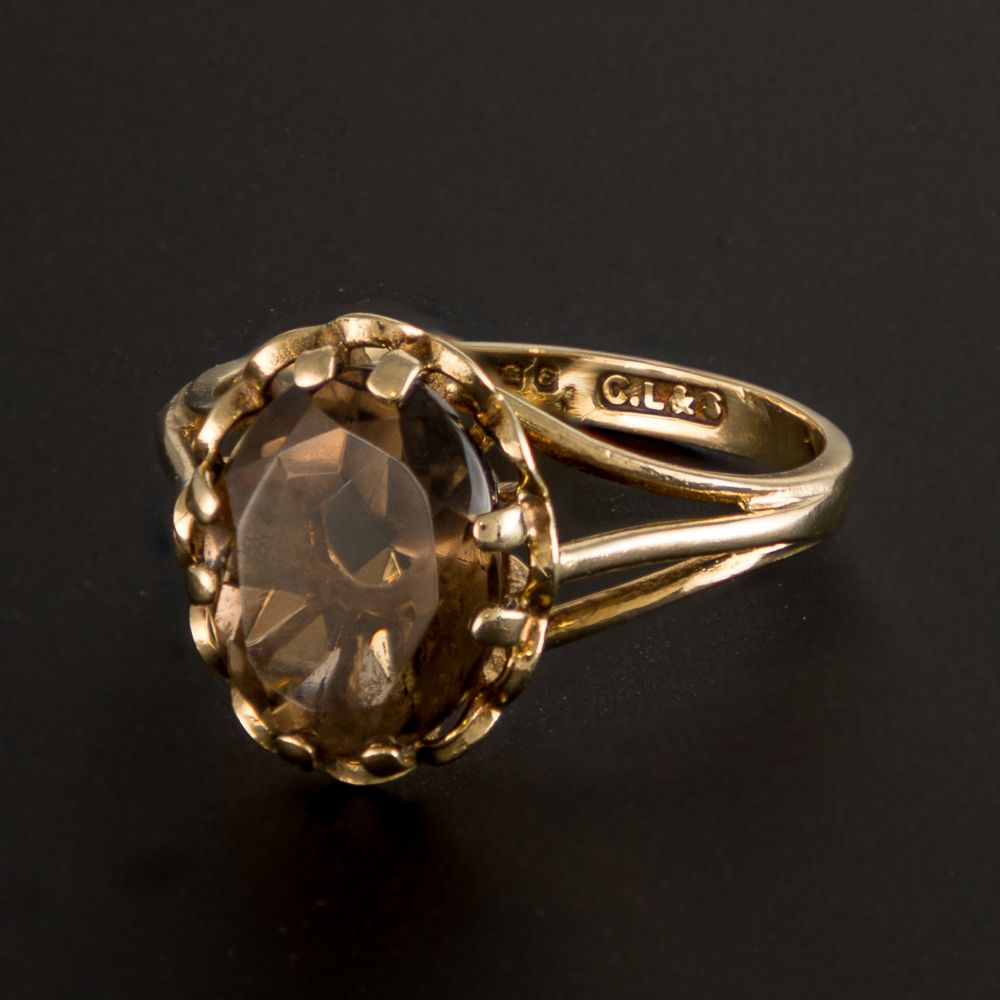Pre-owned 9ct Gold  Gemstone Ring - Size J Smoky Quartz Gold