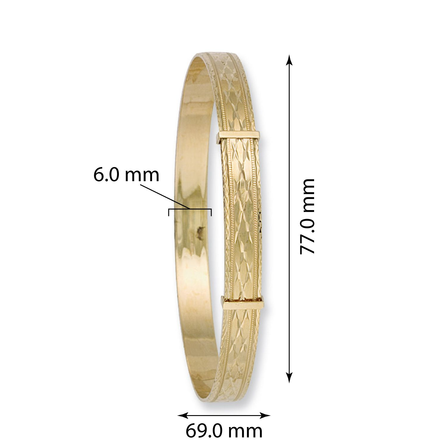9ct Yellow Gold Expandable Slave Bangle 6mm Gold