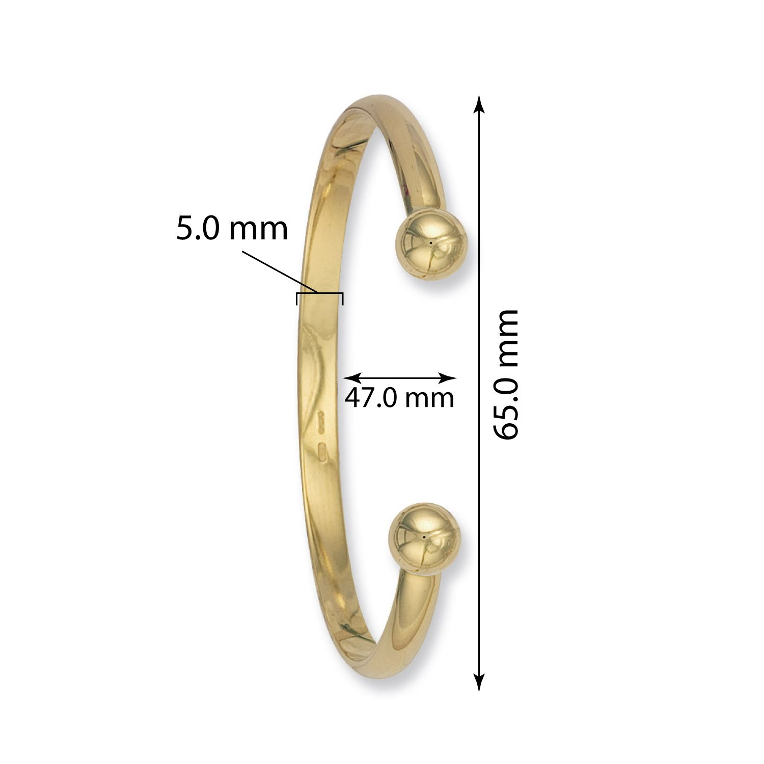9ct Yellow Gold Torque Bangle 5.2mm Gold