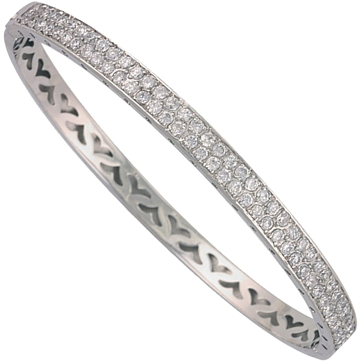 9ct White Gold 5.3mm Bangle Cubic Zirconia Gold