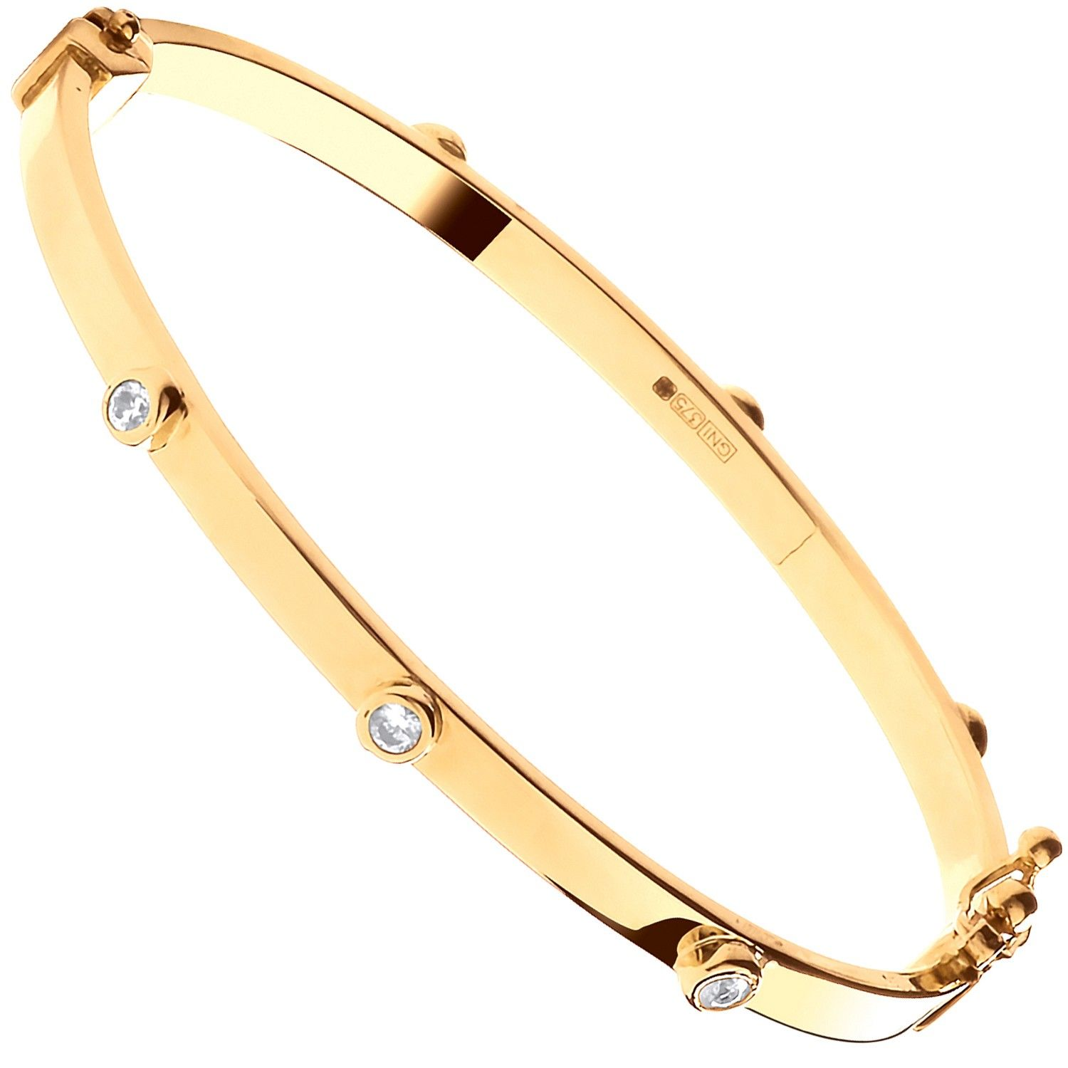 9ct Yellow Gold Hollow Oval Cz Baby Bangle