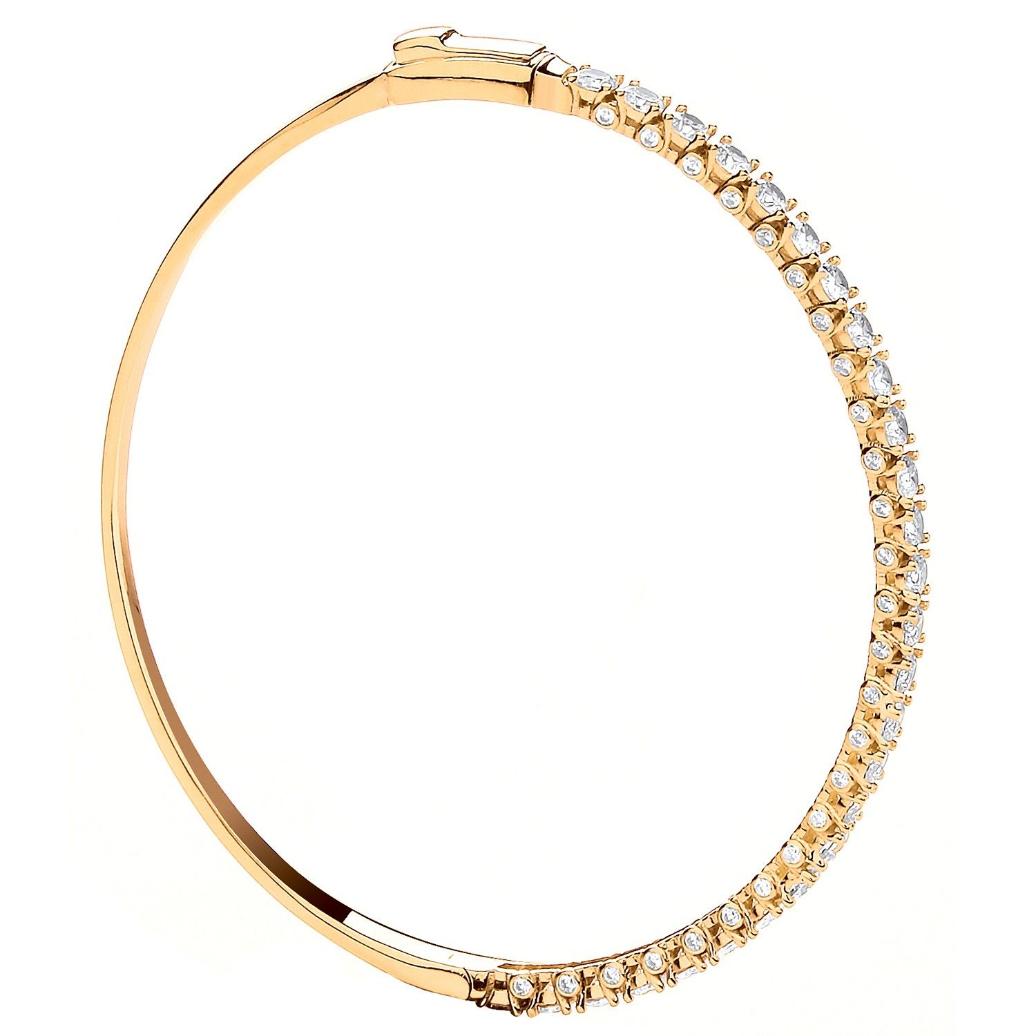 9ct Yellow Gold And Cz Ladies Bangle Cubic Zirconia Gold