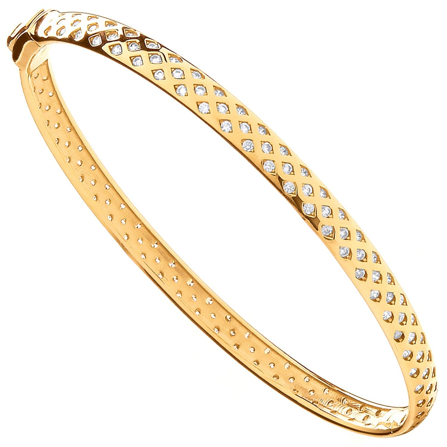 9ct Yellow Gold With Cz Fancy Ladies Bangle Cubic Zirconia Gold
