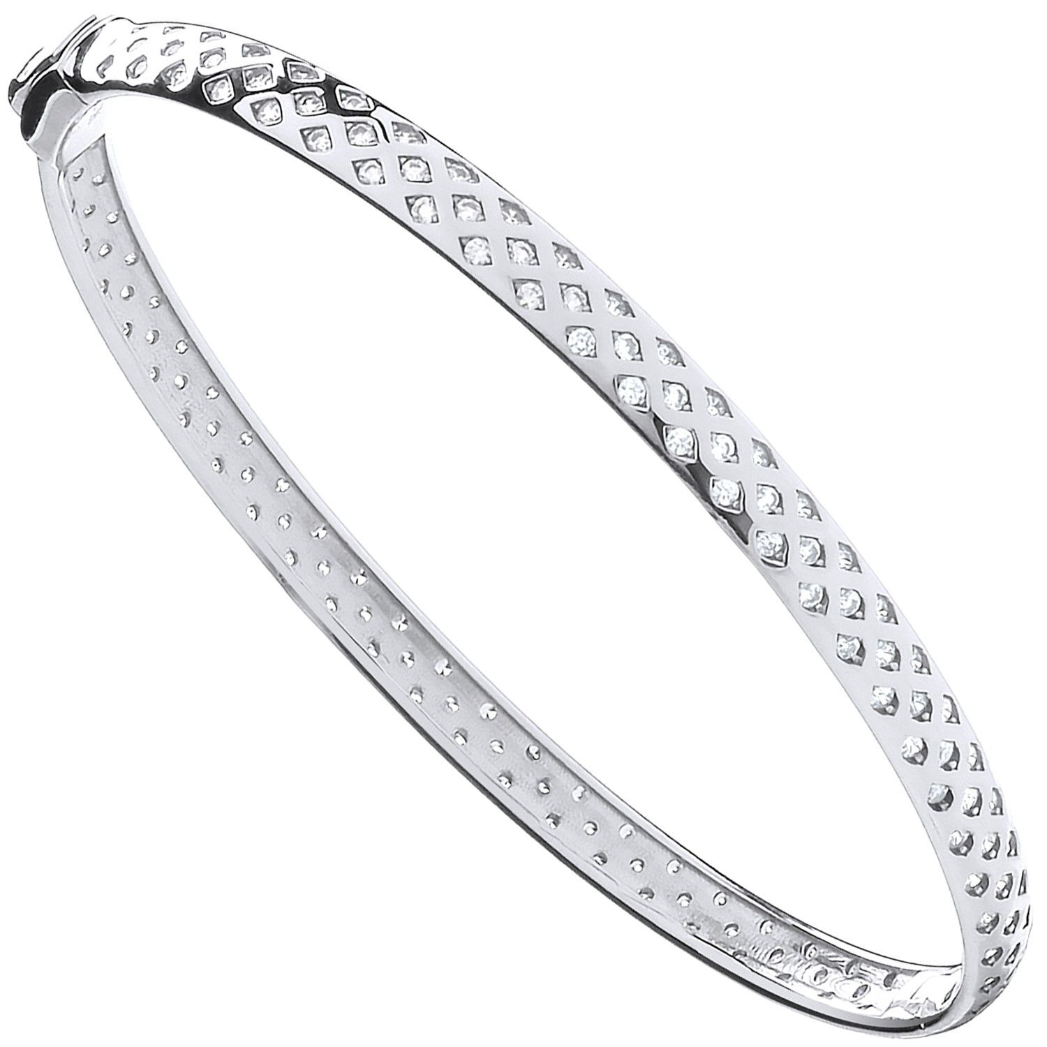 9ct White Gold With Cz Fancy Ladies Bangle Cubic Zirconia Gold