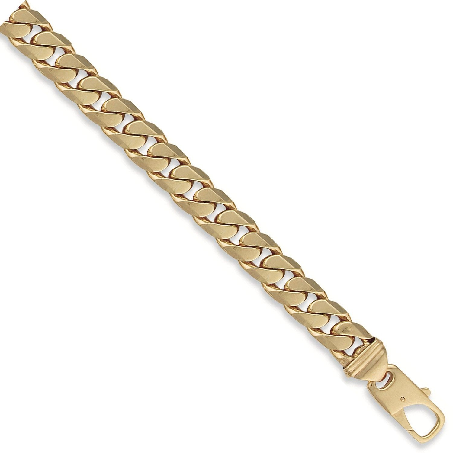 9ct Yellow Gold Curb Bracelet 13mm