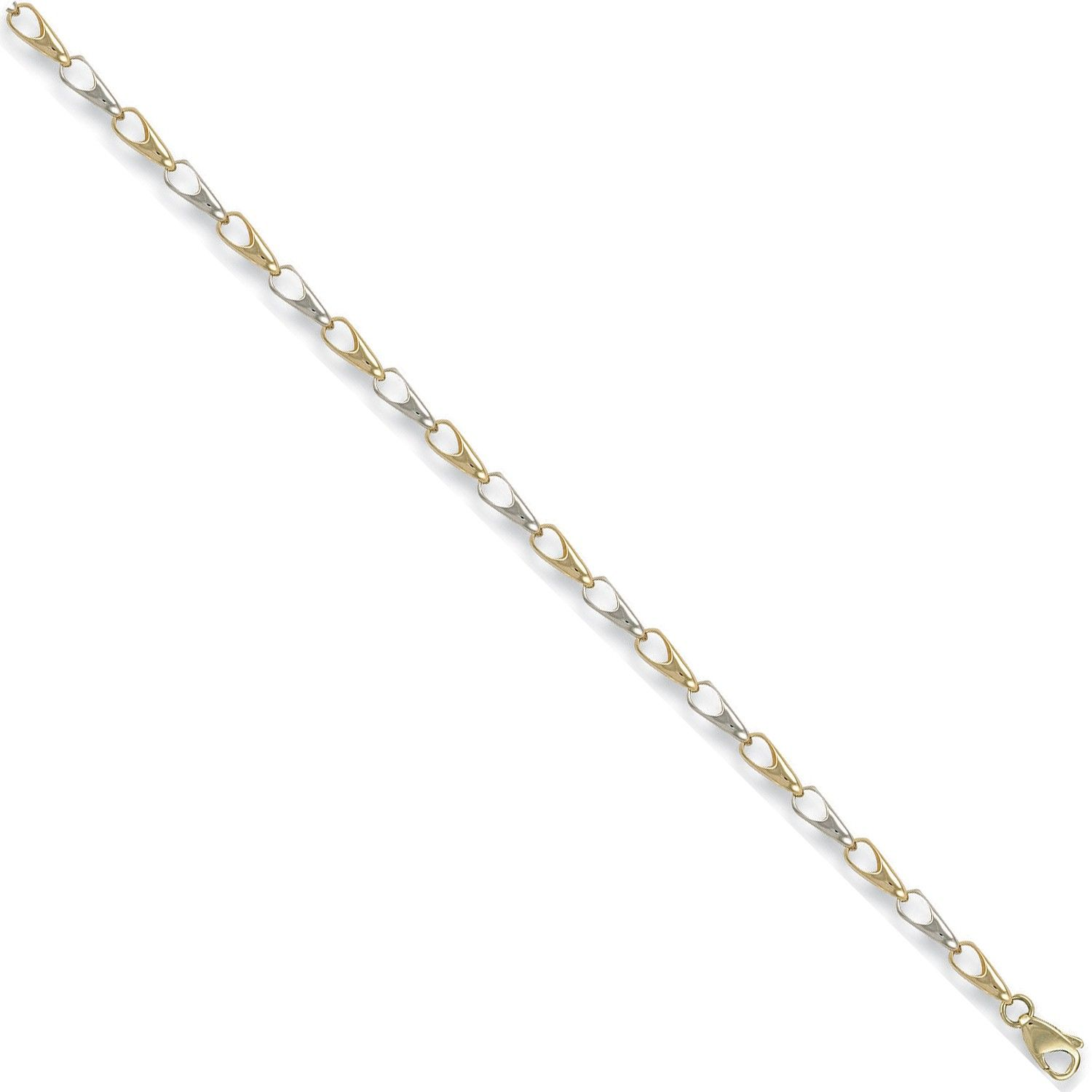 9ct White And Yellow Gold Fancy 4.3mm Bracelet