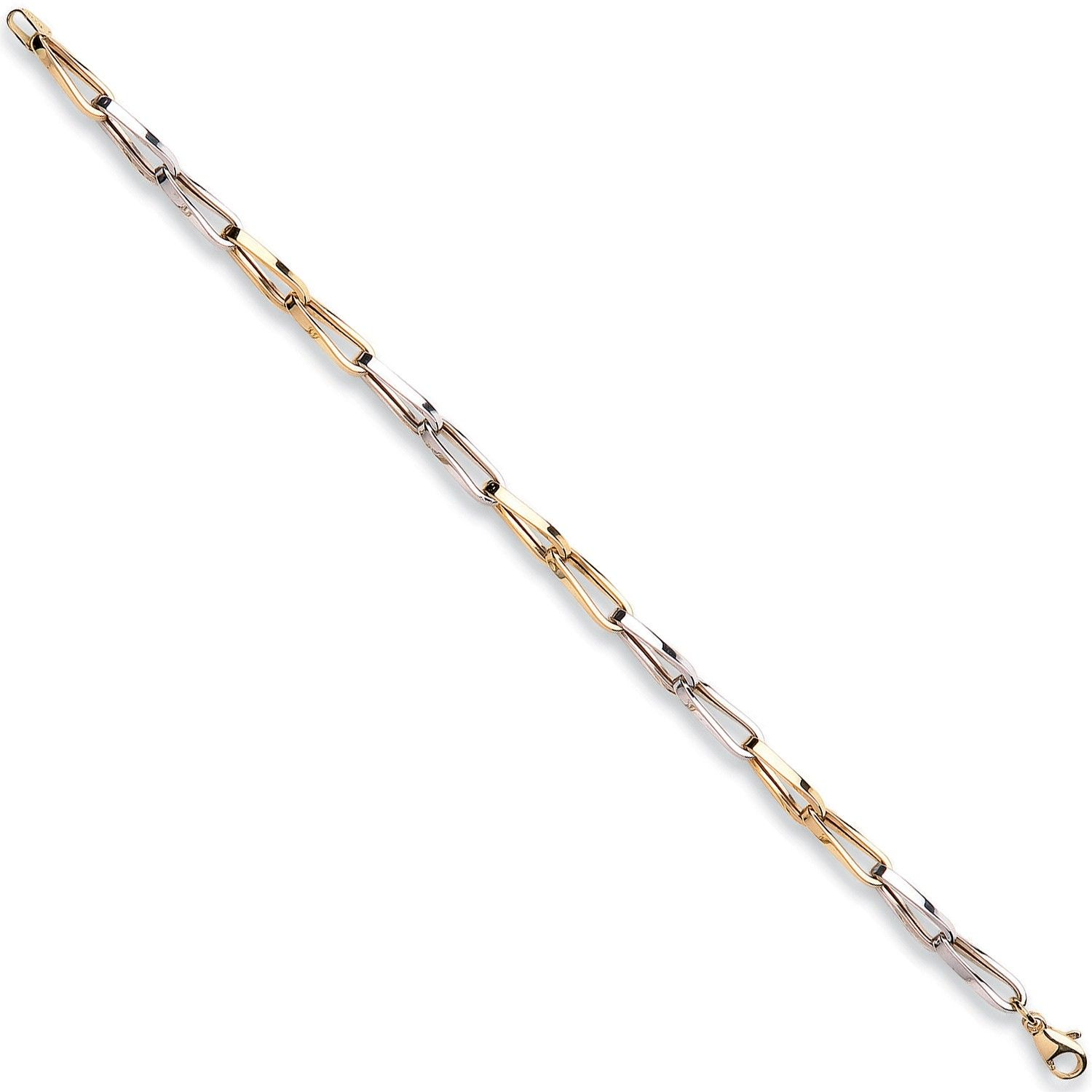 9ct Yellow And White Gold Link Bracelet