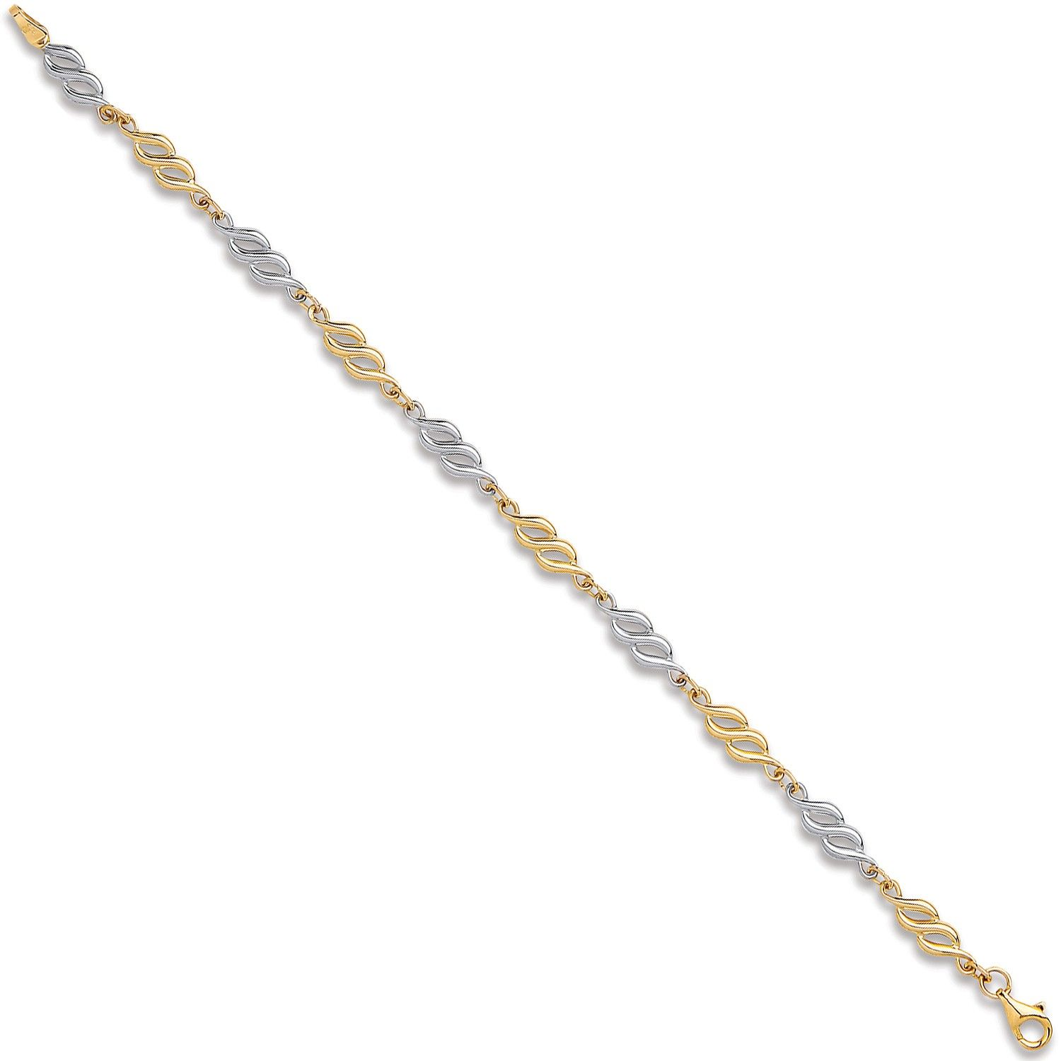 9ct Yellow And White Gold Fancy Hollow Link Bracelet