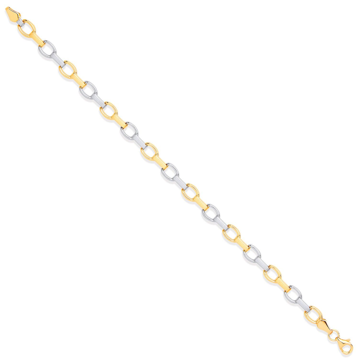 9ct Yellow And White Gold Fancy Ladies Bracelet