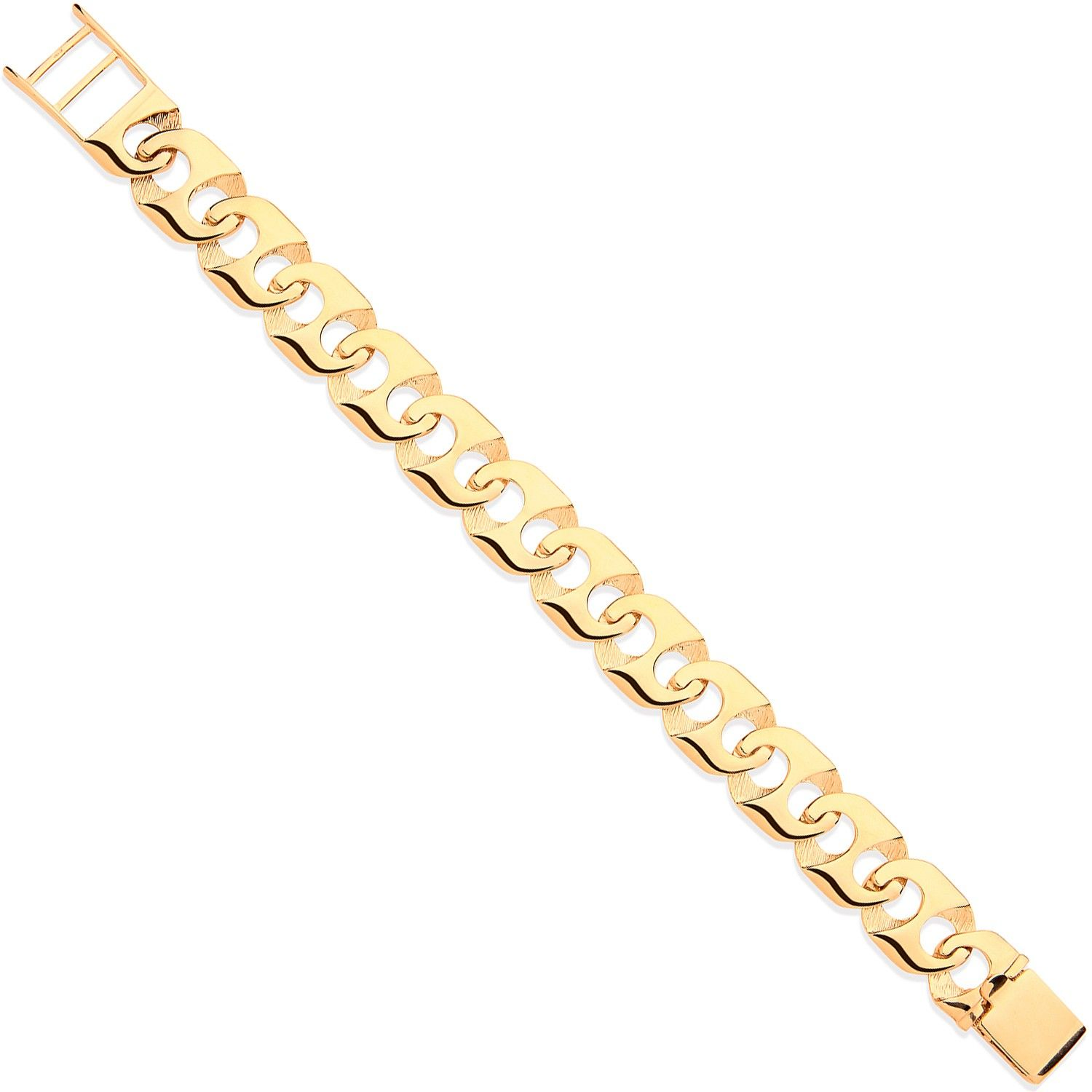 9ct Yellow Gold Anchor Link Gents Bracelet
