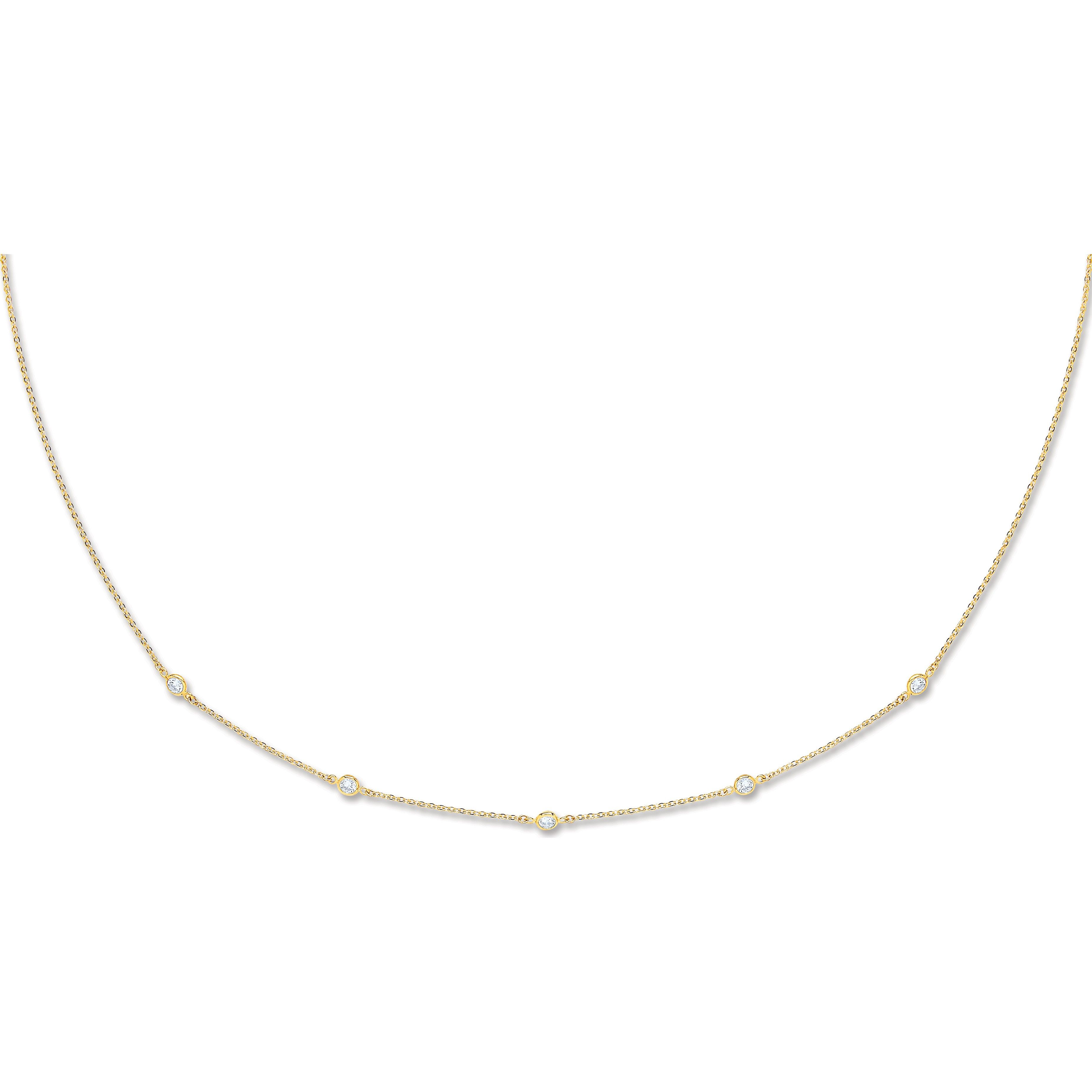 9ct Yellow Gold 2mm CZ Necklace Cubic Zirconia Gold