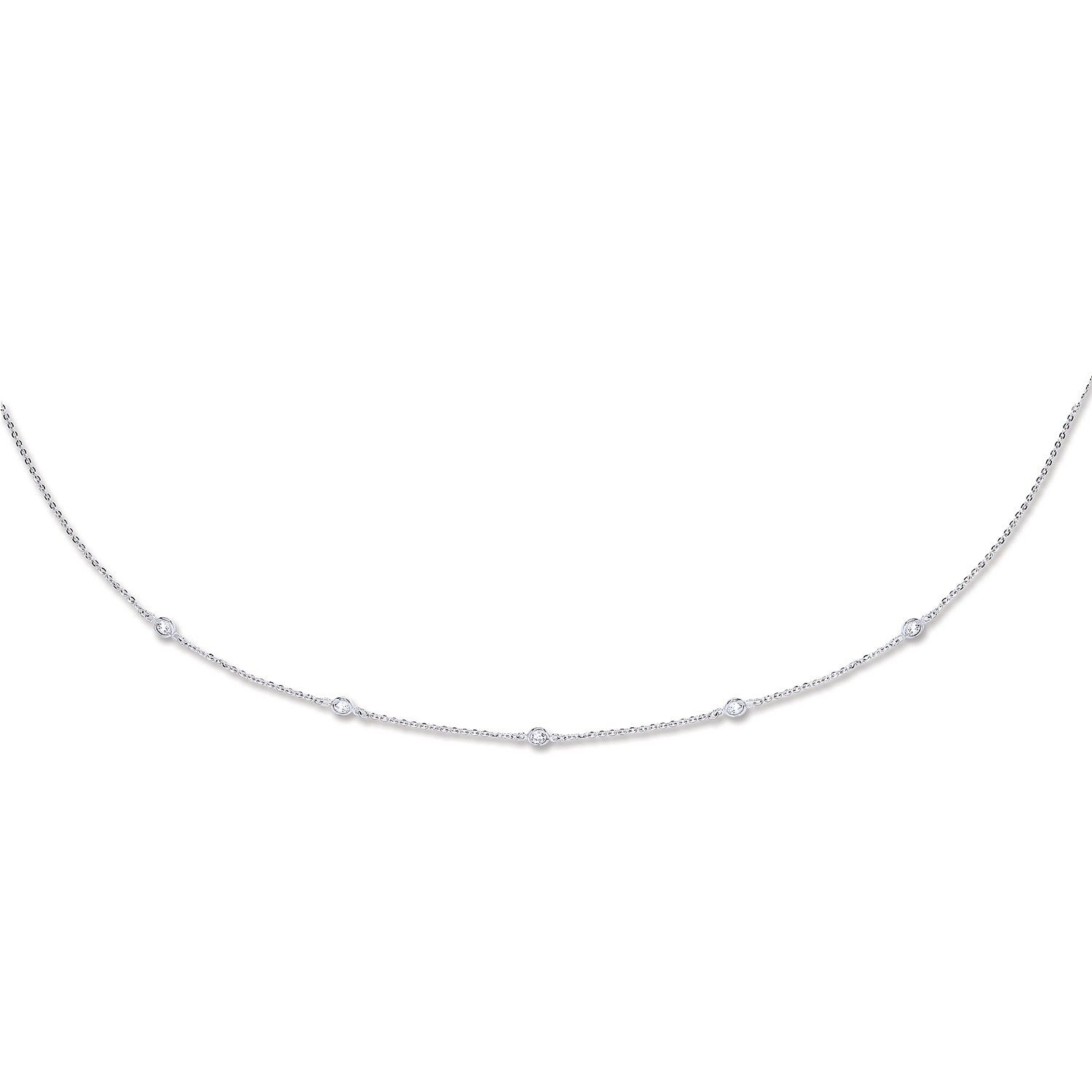 9ct White Gold 1.5mm CZ Necklace Cubic Zirconia Gold