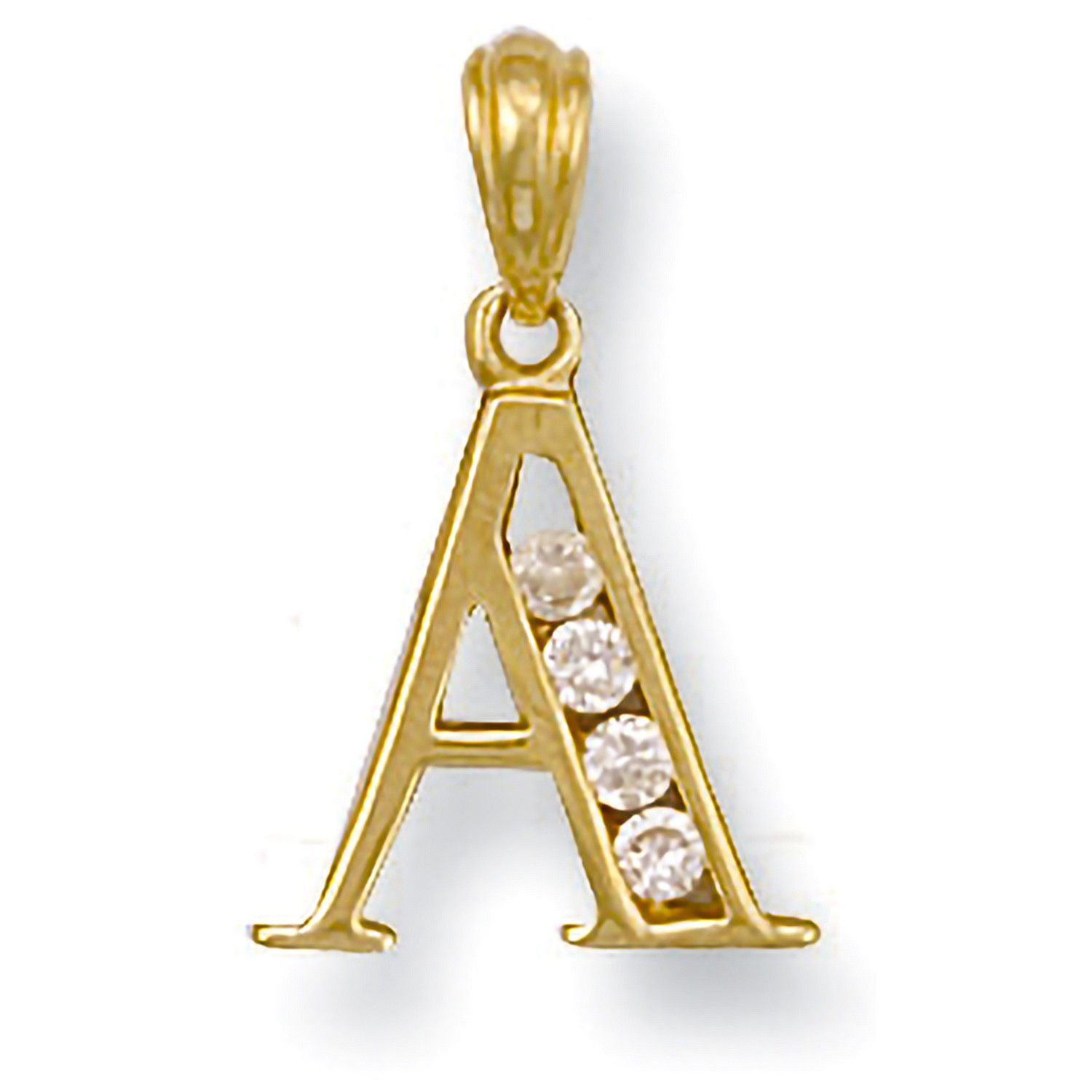 9ct Yellow  and cubic zirconia Initial S Pendant