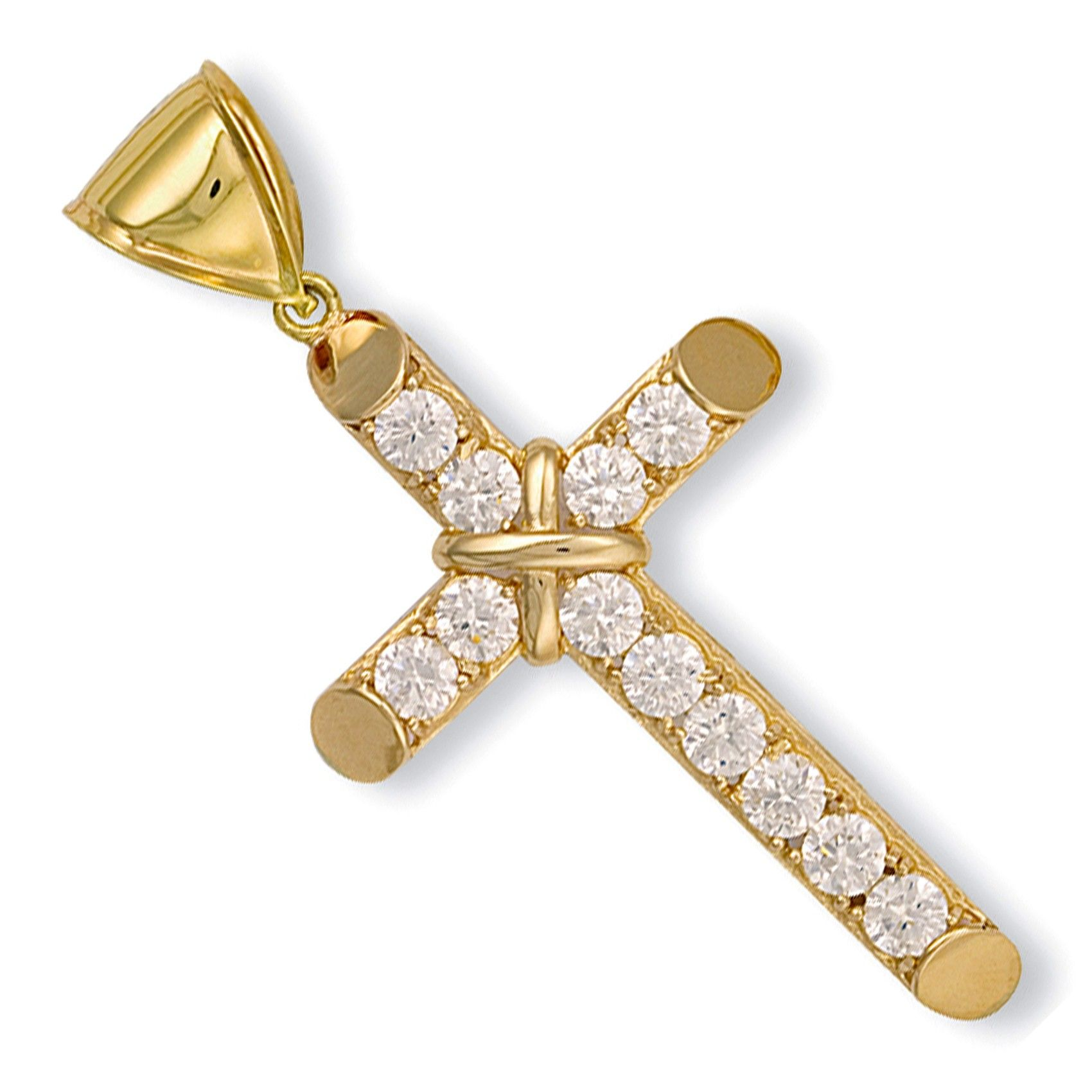 9ct Yellow Gold Claw Set Cz Cross Cubic Zirconia Gold