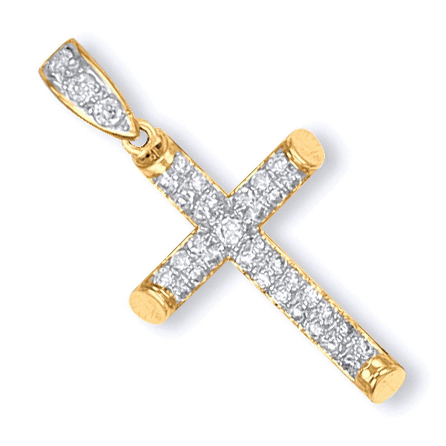 9ct Yellow Gold Round Tubed CZ Cross Cubic Zirconia Gold